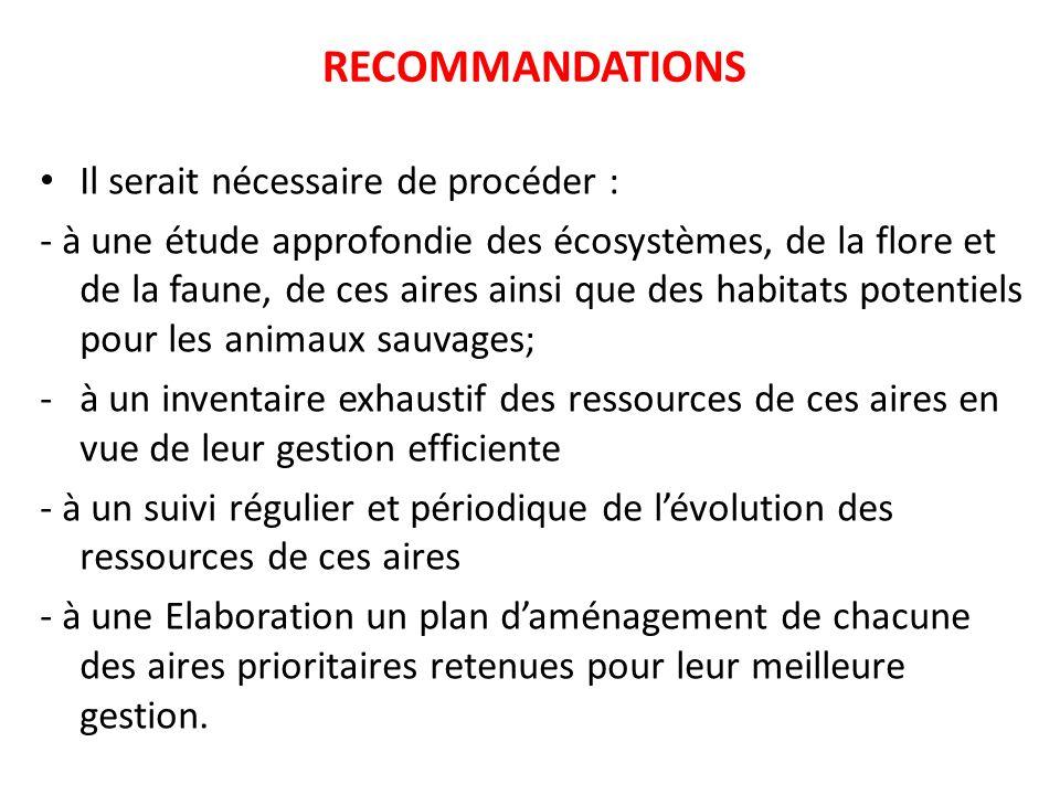 RECOMMANDATIONS Il serait nécessaire de procéder : - à une étude approfondie des écosystèmes, de la flore et de la faune, de ces aires ainsi que des h