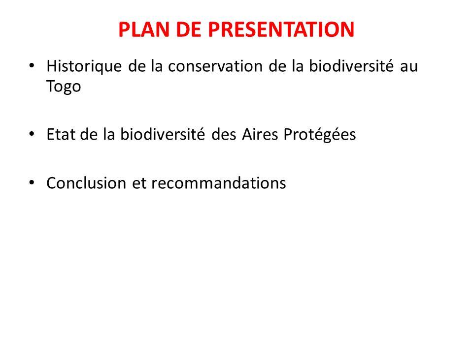 PLAN DE PRESENTATION Historique de la conservation de la biodiversité au Togo Etat de la biodiversité des Aires Protégées Conclusion et recommandation
