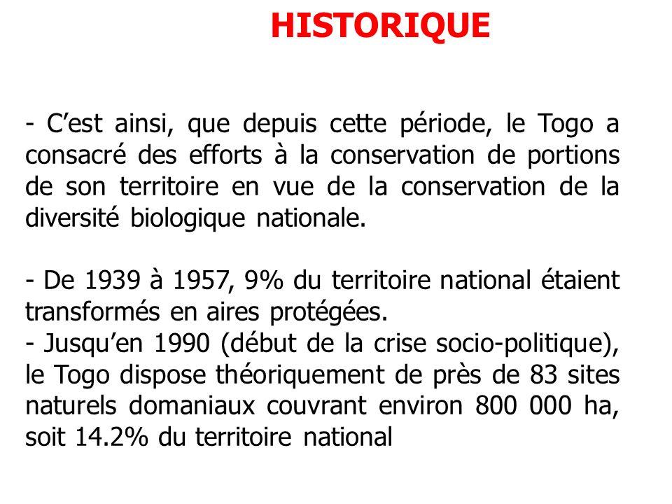 HISTORIQUE - Cest ainsi, que depuis cette période, le Togo a consacré des efforts à la conservation de portions de son territoire en vue de la conserv