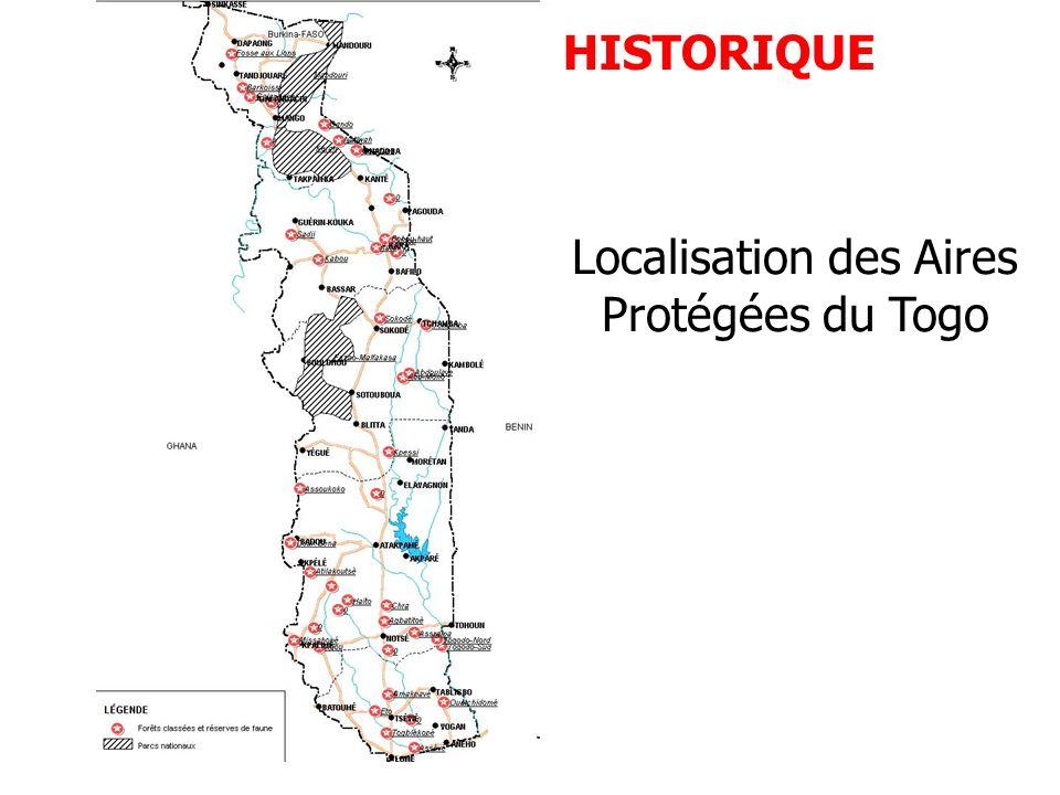 Localisation des Aires Protégées du Togo HISTORIQUE