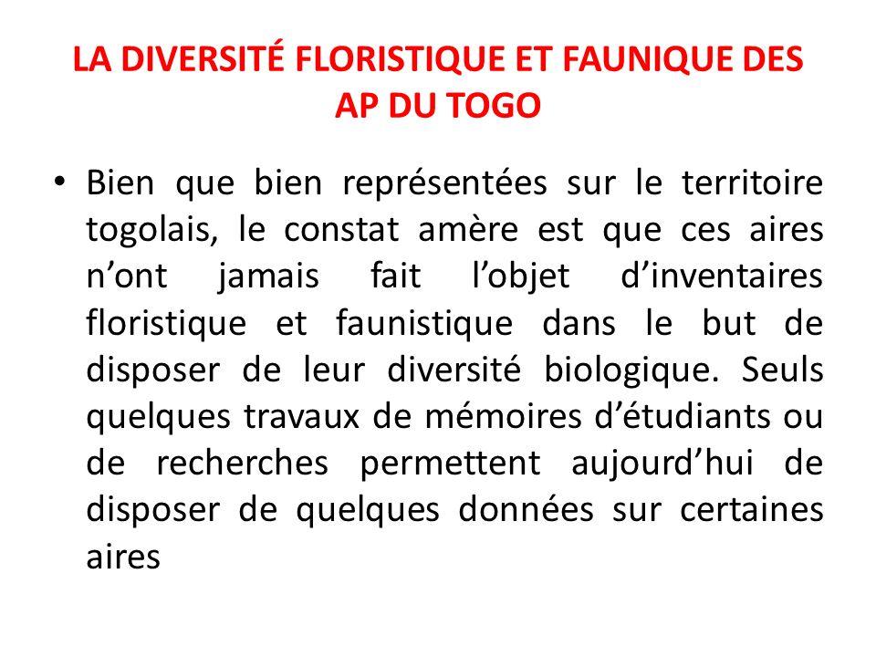 LA DIVERSITÉ FLORISTIQUE ET FAUNIQUE DES AP DU TOGO Bien que bien représentées sur le territoire togolais, le constat amère est que ces aires nont jam