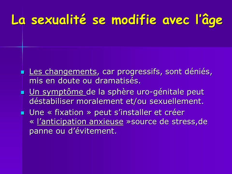 La sexualité se modifie avec lâge Les changements, car progressifs, sont déniés, mis en doute ou dramatisés. Les changements, car progressifs, sont dé