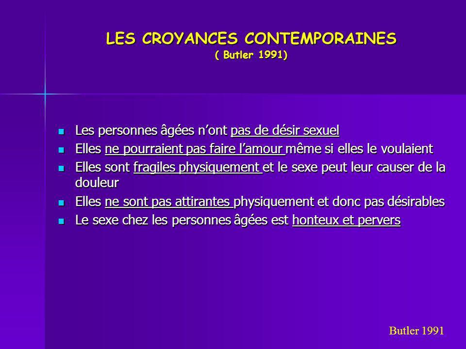 LES CROYANCES CONTEMPORAINES ( Butler 1991) Les personnes âgées nont pas de désir sexuel Les personnes âgées nont pas de désir sexuel Elles ne pourrai