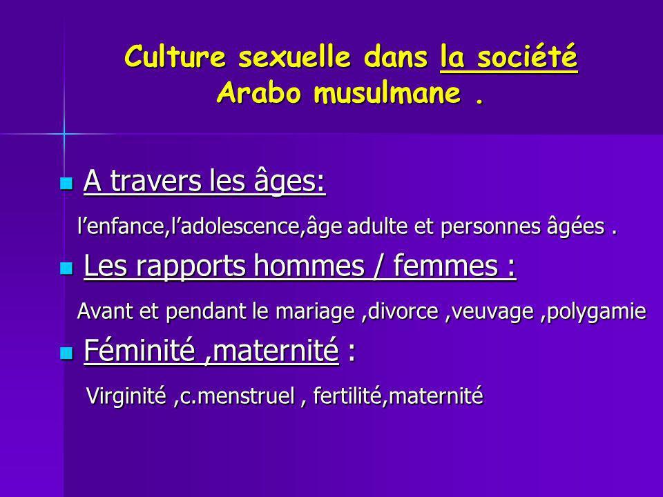 Culture sexuelle dans la société Arabo musulmane. A travers les âges: A travers les âges: lenfance,ladolescence,âge adulte et personnes âgées. lenfanc