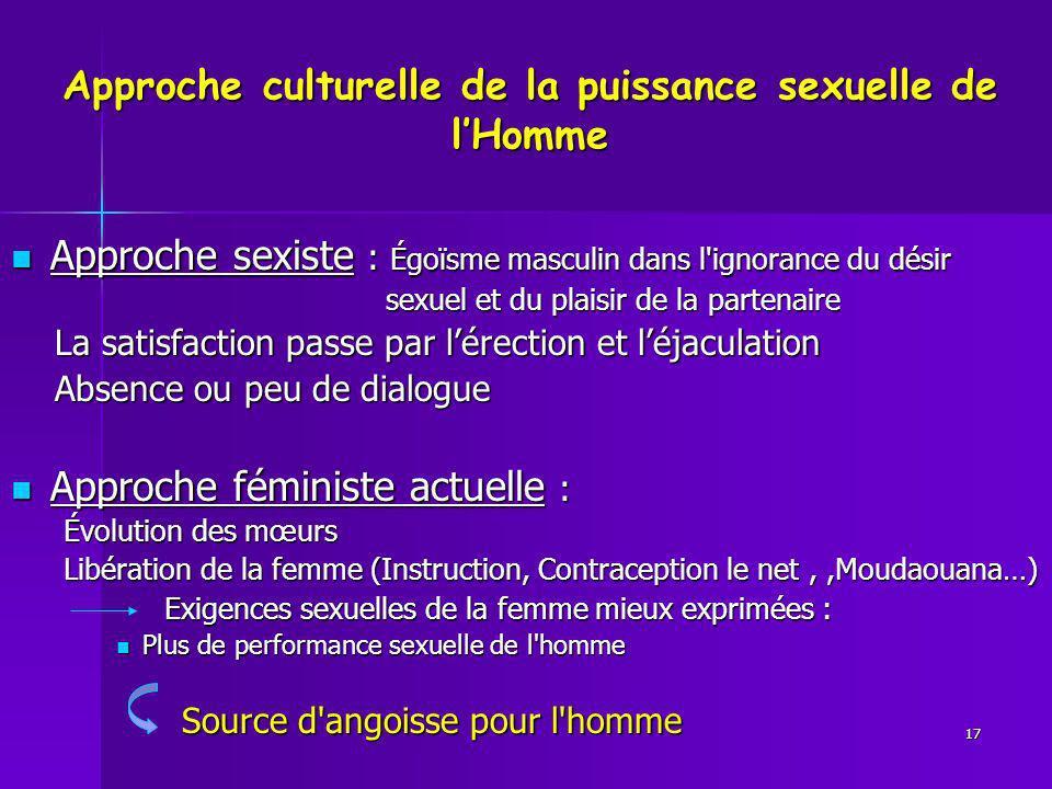 Approche culturelle de la puissance sexuelle de lHomme Approche sexiste : Égoïsme masculin dans l'ignorance du désir Approche sexiste : Égoïsme mascul