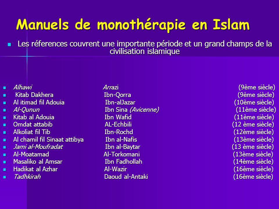 Manuels de monothérapie en Islam Les réferences couvrent une importante période et un grand champs de la civilisation islamique Les réferences couvren