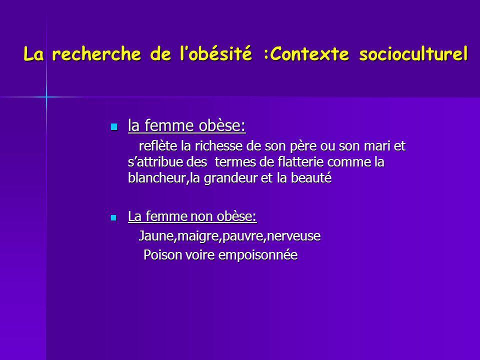 La recherche de lobésité :Contexte socioculturel la femme obèse: la femme obèse: reflète la richesse de son père ou son mari et sattribue des termes d