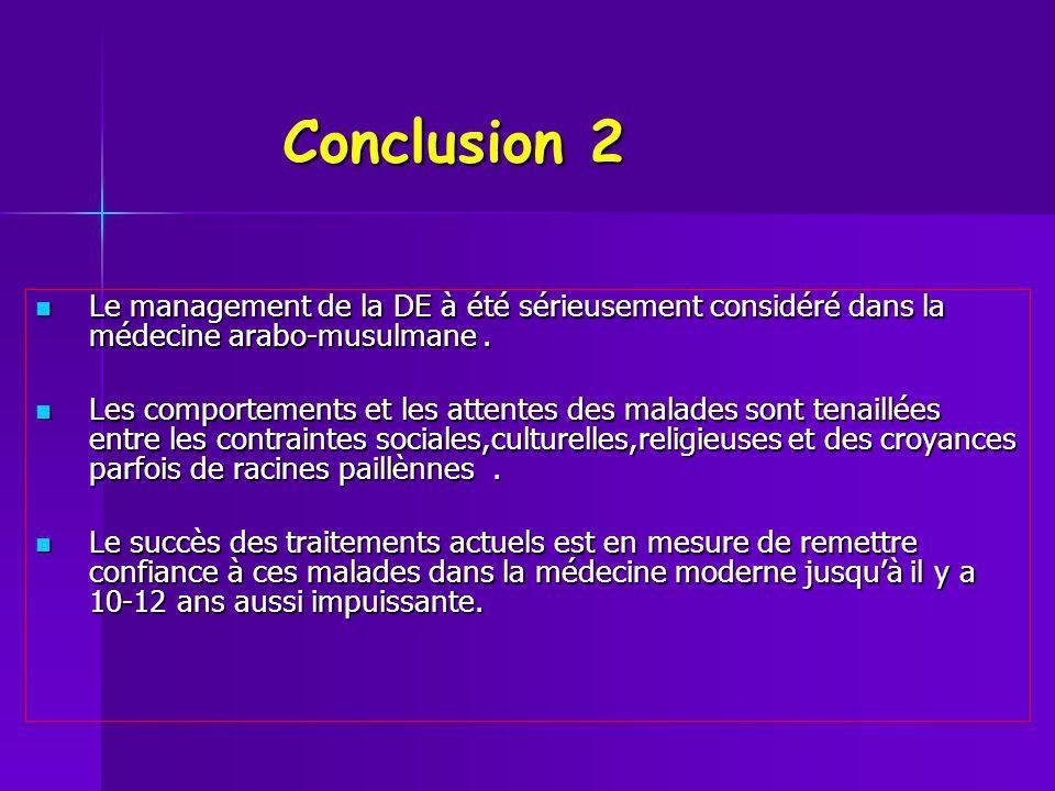 Conclusion 2 Conclusion 2 Le management de la DE à été sérieusement considéré dans la médecine arabo-musulmane. Le management de la DE à été sérieusem