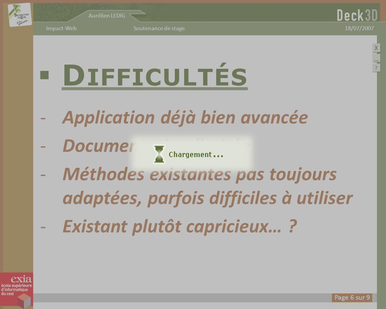 Aurélien LEDIG 18/07/2007Soutenance de stageImpact-Web D IFFICULTÉS -Application déjà bien avancée -Documentation limitée -Méthodes existantes pas tou