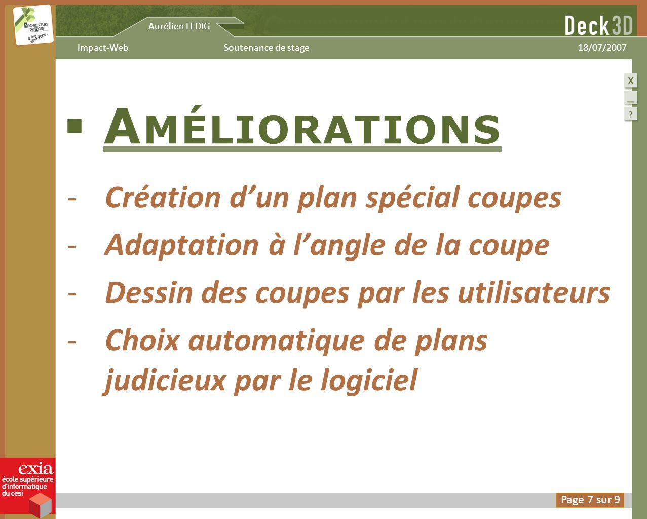 Aurélien LEDIG 18/07/2007Soutenance de stageImpact-Web A MÉLIORATIONS -Création dun plan spécial coupes -Adaptation à langle de la coupe -Dessin des c