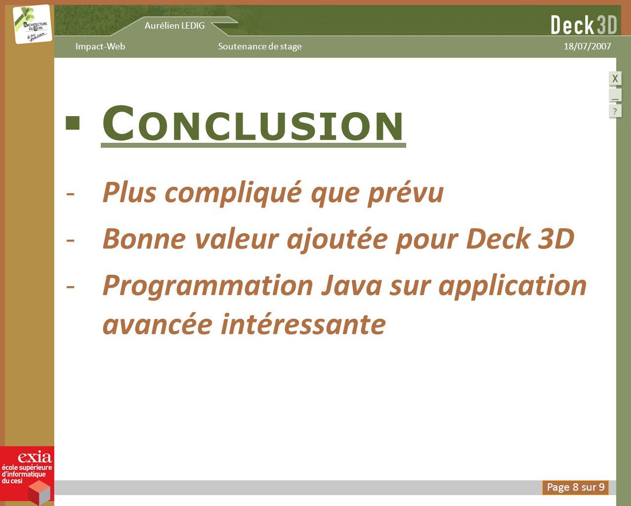 Aurélien LEDIG 18/07/2007Soutenance de stageImpact-Web C ONCLUSION -Plus compliqué que prévu -Bonne valeur ajoutée pour Deck 3D -Programmation Java su
