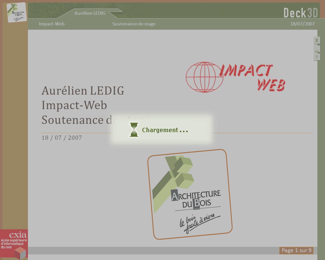 Sommaire I MPACT -W EB D ECK 3D P LANS DE COUPE D IFFICULTÉS A MÉLIORATIONS C ONCLUSION Aurélien LEDIG 18/07/2007Soutenance de stageImpact-Web Page 2 sur 9