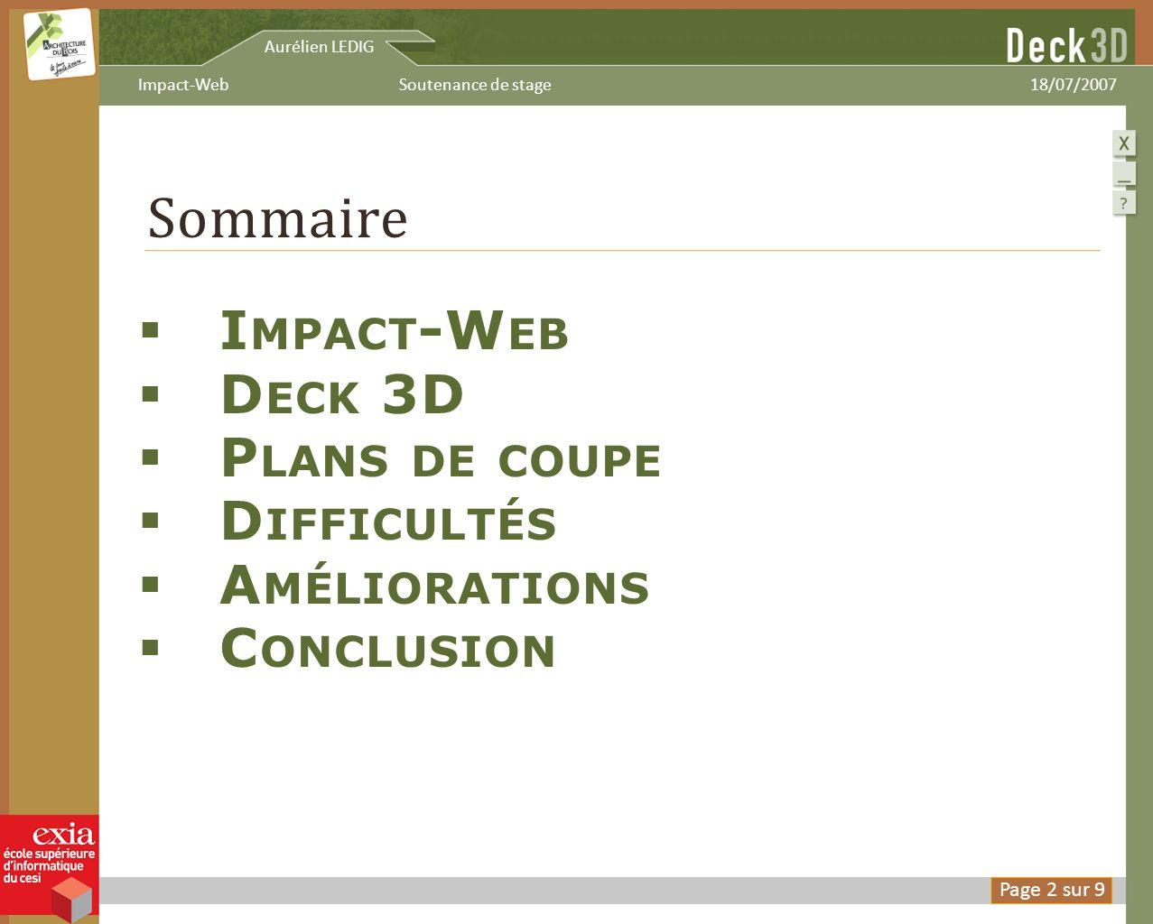 Sommaire I MPACT -W EB D ECK 3D P LANS DE COUPE D IFFICULTÉS A MÉLIORATIONS C ONCLUSION Aurélien LEDIG 18/07/2007Soutenance de stageImpact-Web Page 2