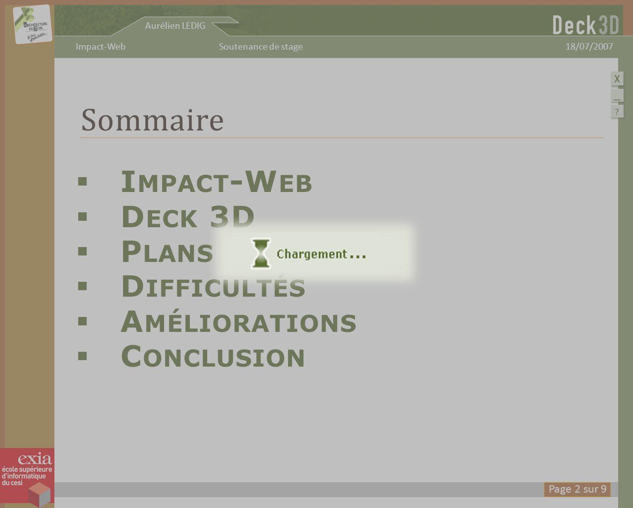 Aurélien LEDIG 18/07/2007Soutenance de stageImpact-Web C ONCLUSION -Plus compliqué que prévu -Bonne valeur ajoutée pour Deck 3D -Programmation Java sur application avancée intéressante Page 8 sur 9
