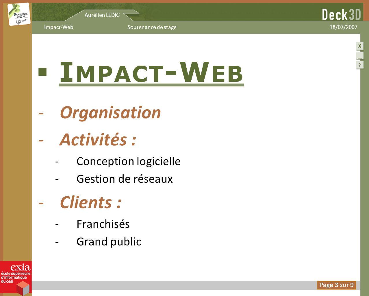 I MPACT -W EB -Organisation -Activités : -Conception logicielle -Gestion de réseaux -Clients : -Franchisés -Grand public Aurélien LEDIG 18/07/2007Soutenance de stageImpact-Web