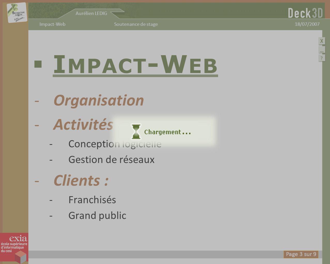 Aurélien LEDIG 18/07/2007Soutenance de stageImpact-Web D ECK 3D -Concept -Démonstration -Pour utilisateurs variés : -Utilisation intuitive -Paramètres experts Page 4 sur 9