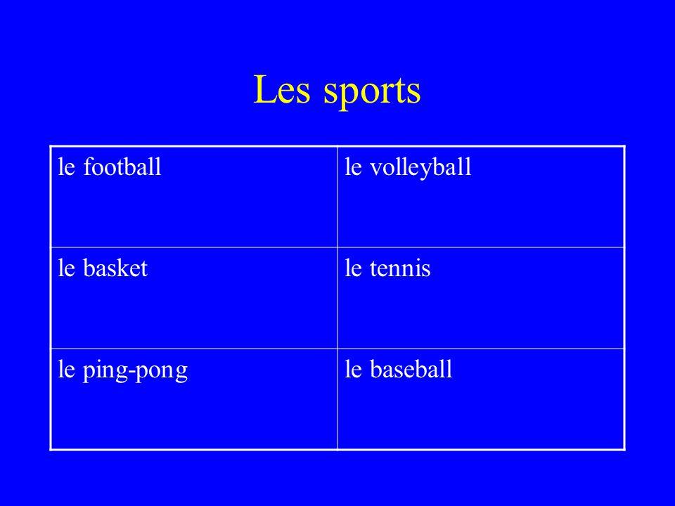 Les sports le footballle volleyball le basketle tennis le ping-pongle baseball