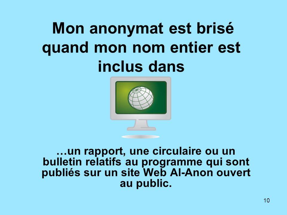 10 Mon anonymat est brisé quand mon nom entier est inclus dans …un rapport, une circulaire ou un bulletin relatifs au programme qui sont publiés sur u