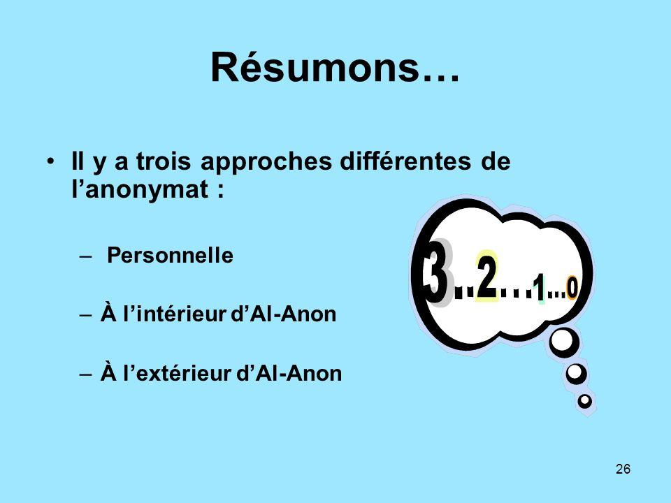 26 Résumons… Il y a trois approches différentes de lanonymat : – Personnelle –À lintérieur dAl-Anon –À lextérieur dAl-Anon