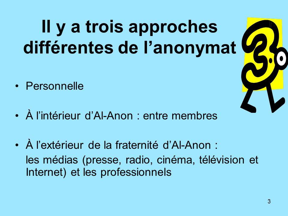 3 Il y a trois approches différentes de lanonymat Personnelle À lintérieur dAl-Anon : entre membres À lextérieur de la fraternité dAl-Anon : les média