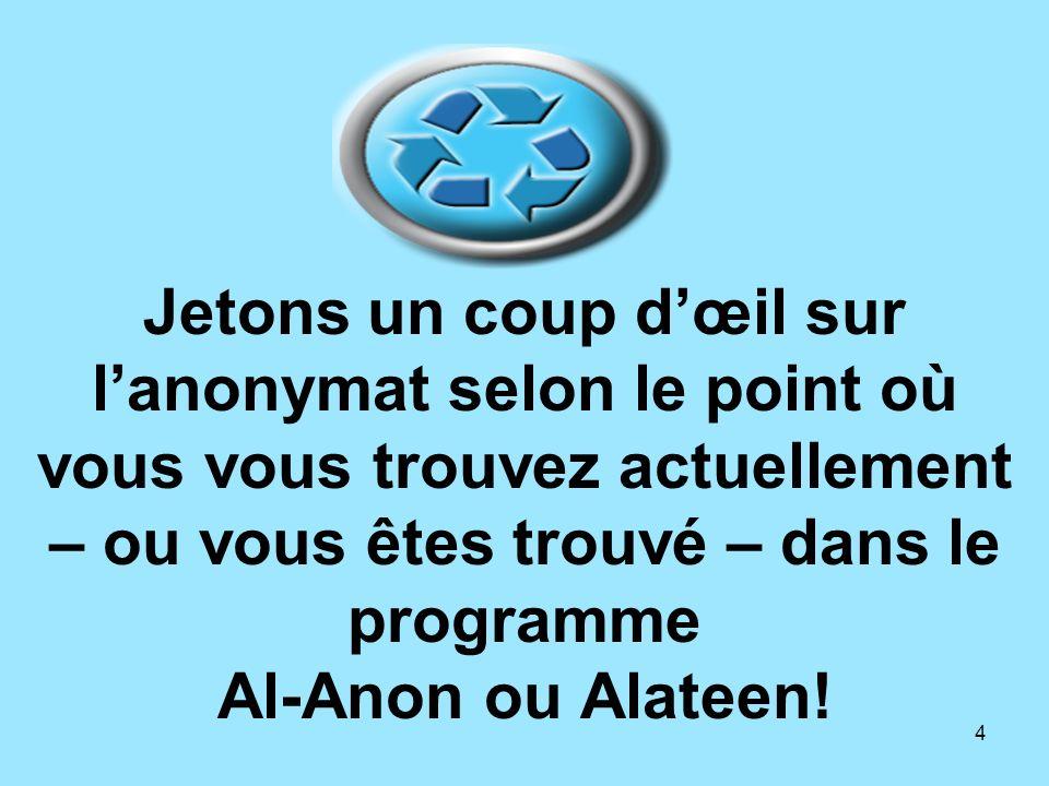 4 Jetons un coup dœil sur lanonymat selon le point où vous vous trouvez actuellement – ou vous êtes trouvé – dans le programme Al-Anon ou Alateen!