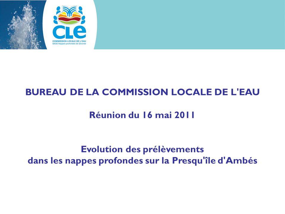 BUREAU DE LA COMMISSION LOCALE DE L'EAU Réunion du 16 mai 2011 Evolution des prélèvements dans les nappes profondes sur la Presqu'île d'Ambés