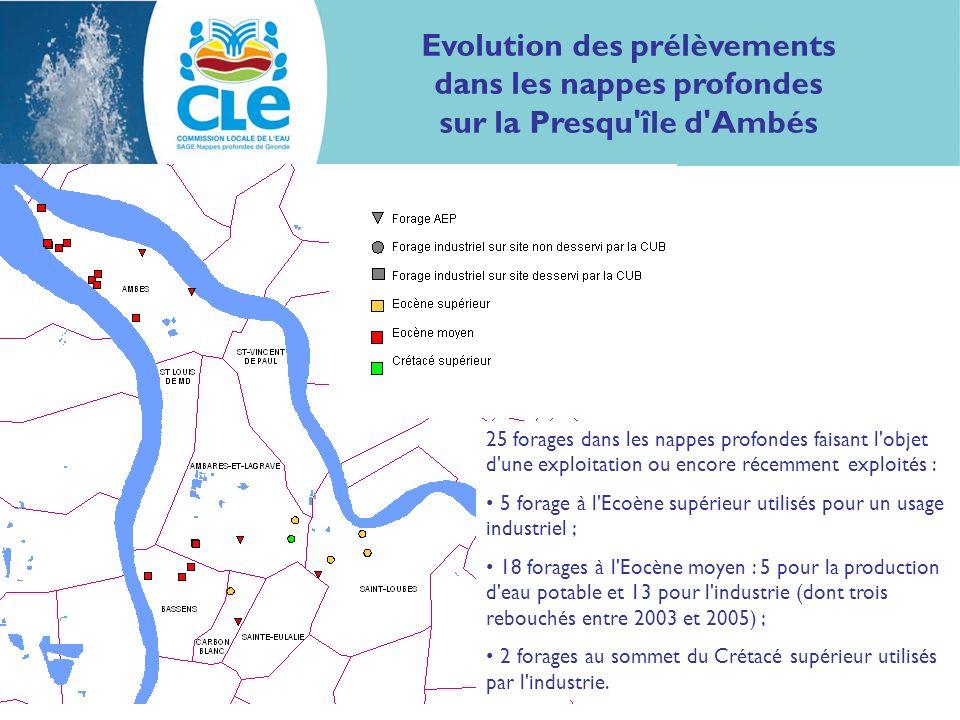 Evolution des prélèvements dans les nappes profondes sur la Presqu'île d'Ambés 25 forages dans les nappes profondes faisant l'objet d'une exploitation