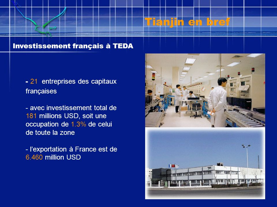 Investissement français à TEDA - 21 entreprises des capitaux françaises - avec investissement total de 181 millions USD, soit une occupation de 1.3% d