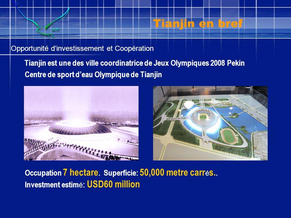 Tianjin est une des ville coordinatrice de Jeux Olympiques 2008 Pekin Centre de sport deau Olympique de Tianjin Occupation 7 hectare. Superficie: 50,0