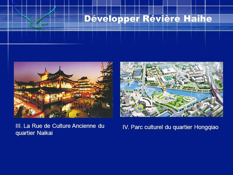 Développer Révière Haihe III. La Rue de Culture Ancienne du quartier Naikai IV. Parc culturel du quartier Hongqiao