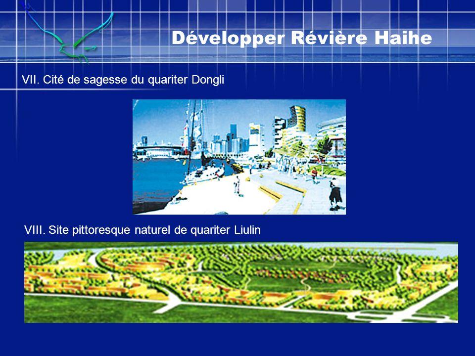 Développer Révière Haihe VII. Cité de sagesse du quariter Dongli VIII. Site pittoresque naturel de quariter Liulin