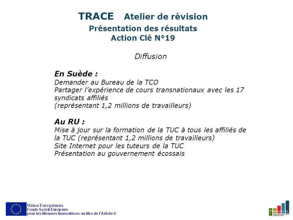 Diffusion En Suède : Demander au Bureau de la TCO Partager lexpérience de cours transnationaux avec les 17 syndicats affiliés (représentant 1,2 millions de travailleurs) Au RU : Mise à jour sur la formation de la TUC à tous les affiliés de la TUC (représentant 1,2 millions de travailleurs) Site Internet pour les tuteurs de la TUC Présentation au gouvernement écossais TRACE Atelier de révision Présentation des résultats Action Clé N°19