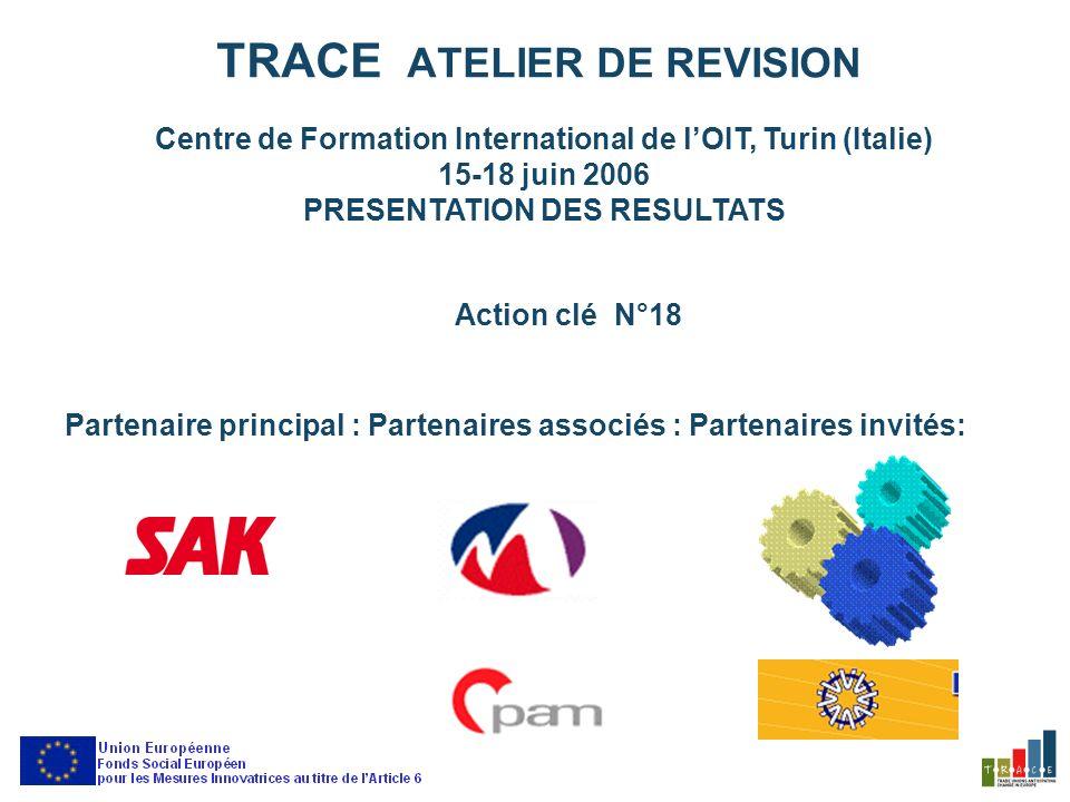 TRACE ATELIER DE REVISION Centre de Formation International de lOIT, Turin (Italie) 15-18 juin 2006 PRESENTATION DES RESULTATS Action clé N°18 Partenaire principal :Partenaires associés :Partenaires invités: