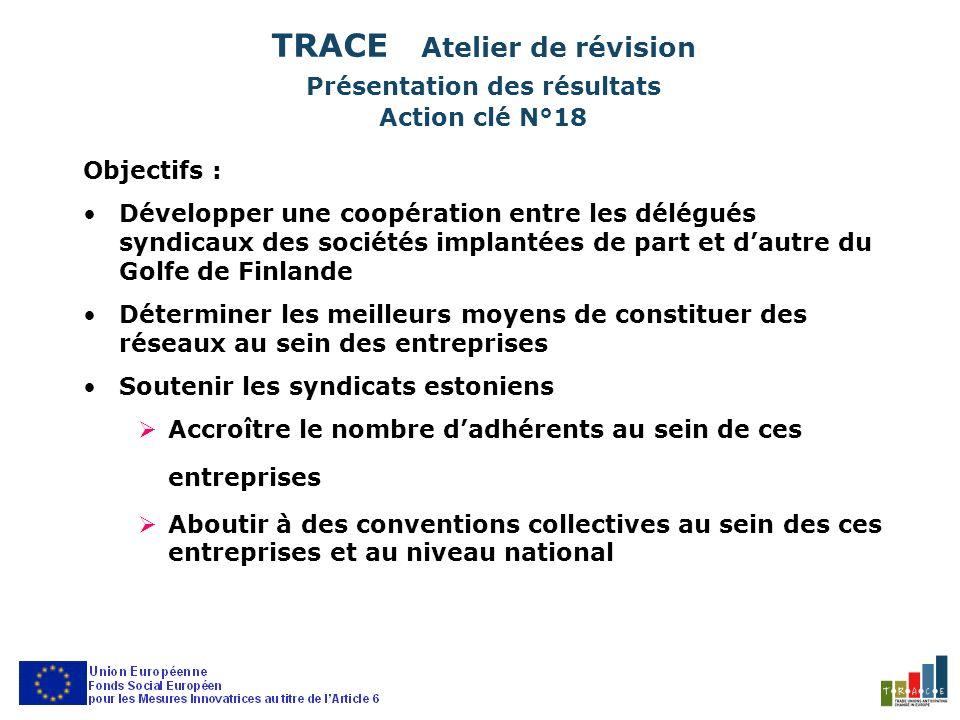 TRACE Atelier de révision Présentation des résultats Action clé N°18 Objectifs : Développer une coopération entre les délégués syndicaux des sociétés