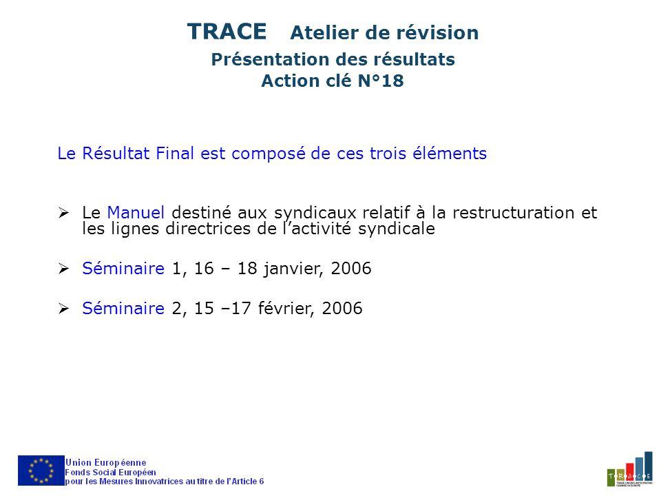 Le Résultat Final est composé de ces trois éléments Le Manuel destiné aux syndicaux relatif à la restructuration et les lignes directrices de lactivité syndicale Séminaire 1, 16 – 18 janvier, 2006 Séminaire 2, 15 –17 février, 2006 TRACE Atelier de révision Présentation des résultats Action clé N°18