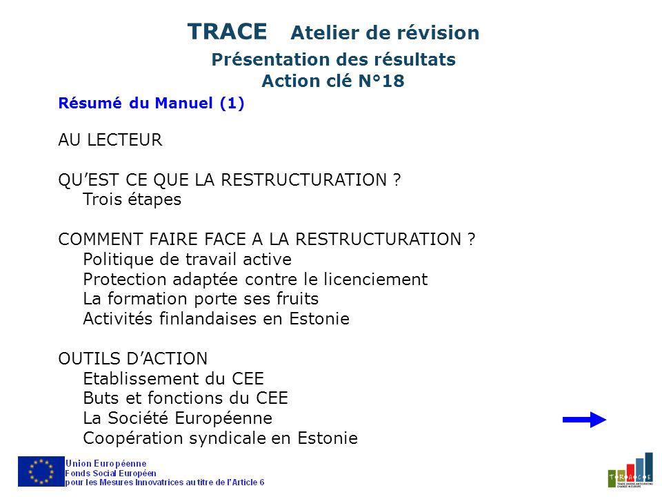 Résumé du Manuel (1) AU LECTEUR QUEST CE QUE LA RESTRUCTURATION ? Trois étapes COMMENT FAIRE FACE A LA RESTRUCTURATION ? Politique de travail active P