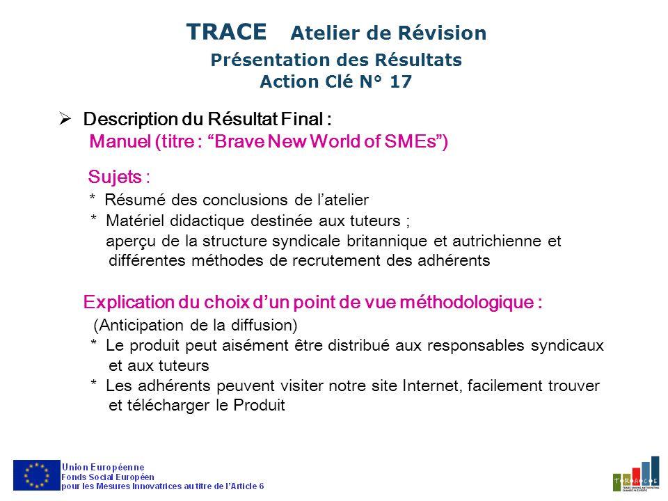 Description du Résultat Final : Structure du Produit : Parties et Fonctions –introduction, avant-propos T.U.C.