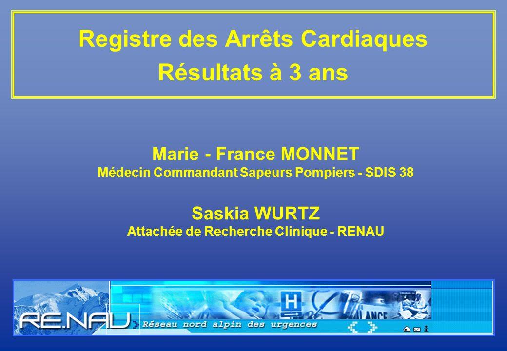Registre des Arrêts Cardiaques Résultats à 3 ans Marie - France MONNET Médecin Commandant Sapeurs Pompiers - SDIS 38 Saskia WURTZ Attachée de Recherch