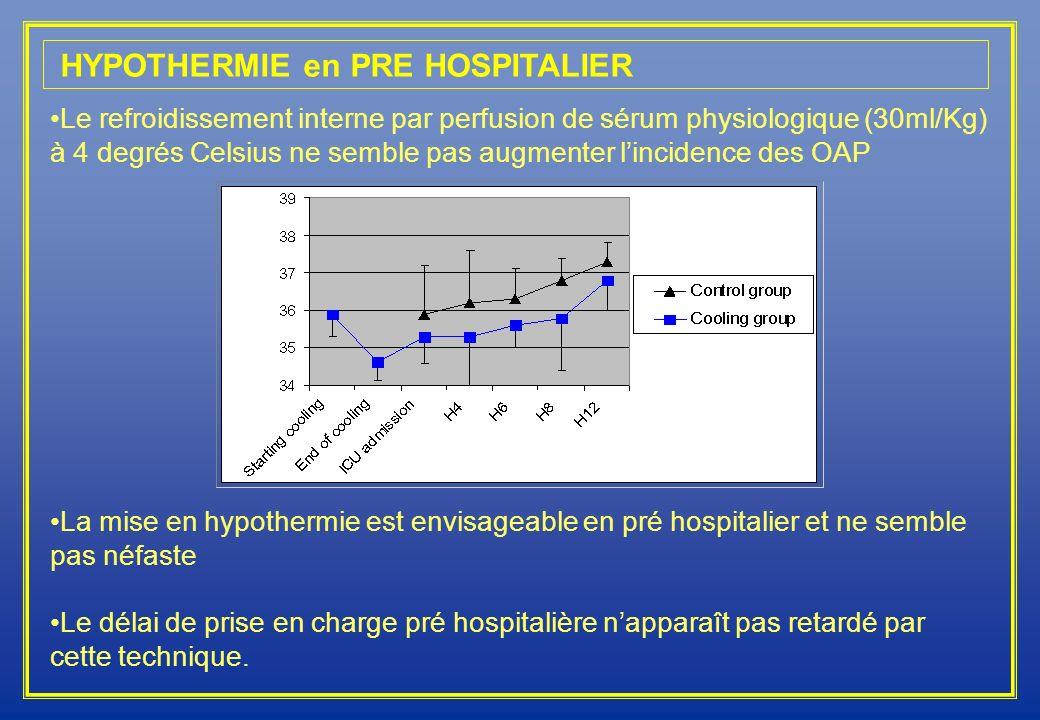 HYPOTHERMIE en PRE HOSPITALIER Le refroidissement interne par perfusion de sérum physiologique (30ml/Kg) à 4 degrés Celsius ne semble pas augmenter li