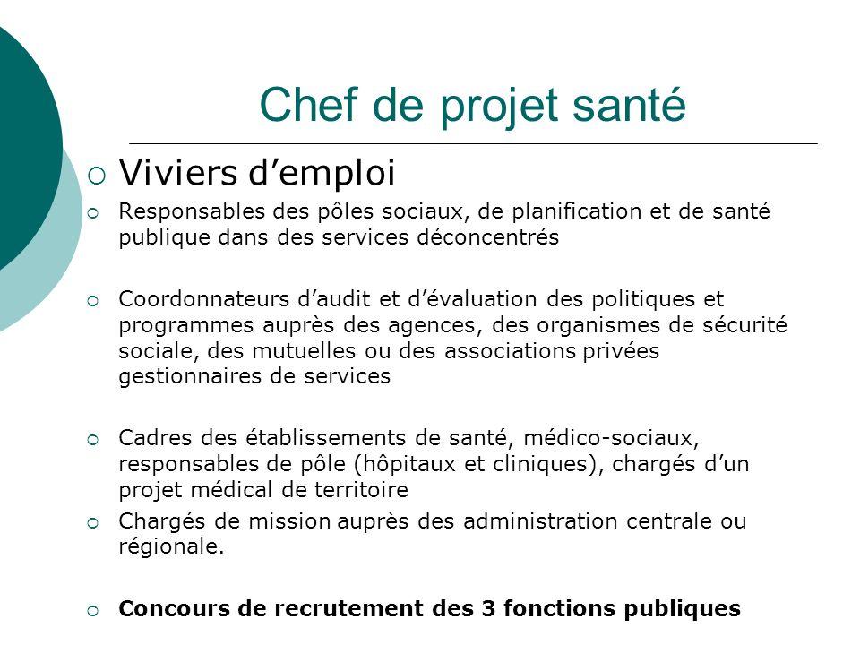 Chef de projet santé Viviers demploi Responsables des pôles sociaux, de planification et de santé publique dans des services déconcentrés Coordonnateu