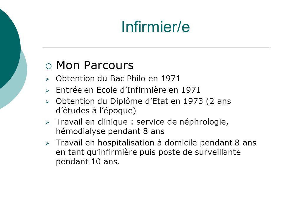 Infirmier/e Mon Parcours Obtention du Bac Philo en 1971 Entrée en Ecole dInfirmière en 1971 Obtention du Diplôme dEtat en 1973 (2 ans détudes à lépoqu