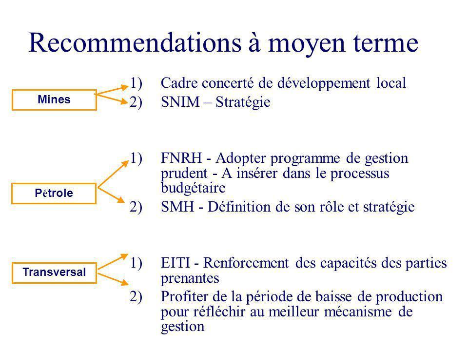 8 Recommendations à moyen terme 1)Cadre concerté de développement local 2)SNIM – Stratégie 1)FNRH - Adopter programme de gestion prudent - A insérer d