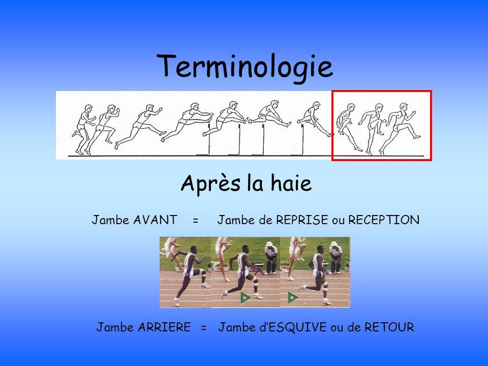 Terminologie Après la haie Jambe AVANT = Jambe de REPRISE ou RECEPTION Jambe ARRIERE = Jambe dESQUIVE ou de RETOUR