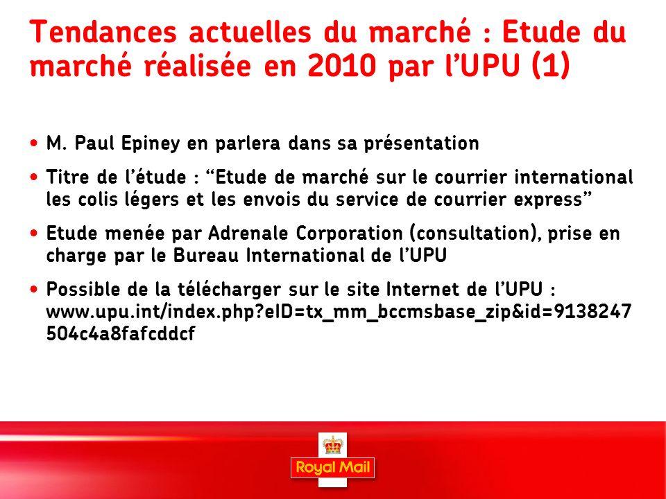12 Tendances actuelles du marché : Etude du marché réalisée en 2010 par lUPU (1) M.