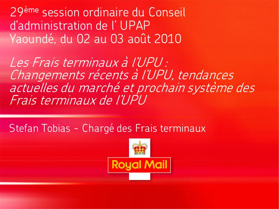 13 Current market trends: the UPU Market Study 2010 (2) Some core results of the study: increased reliance on advertising, direct marketing, small packages, value-added services, and return services trend towards trading speed for a lower price but with a high level of reliability negative trend with regard to social mail overall negative trend in international letter mail volumes trends towards pricing based on shapes (formats), degree of automation/preparation, service levels (speed, tracking, …) the UPU TD system does not appear to support the growth of international mail as volumes have, and continue, to fall price elasticity for international letters higher than for international parcels issues arising as a result of the step change in costs between letter TD rates and Inland Parcel Land Rates
