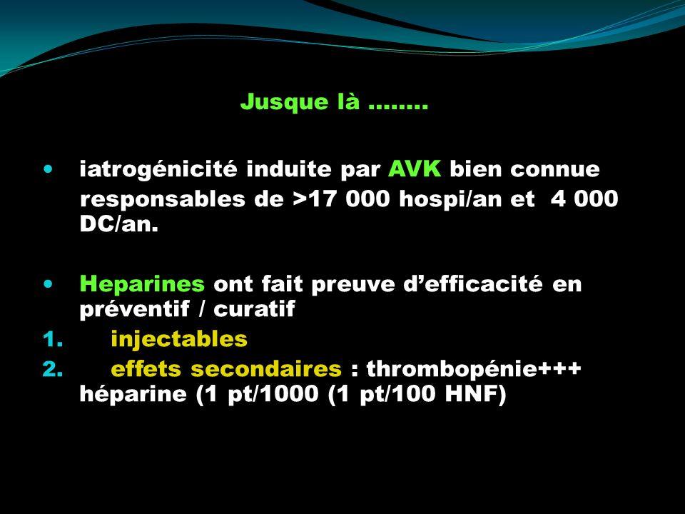 iatrogénicité induite par AVK bien connue responsables de >17 000 hospi/an et 4 000 DC/an. Heparines ont fait preuve defficacité en préventif / curati