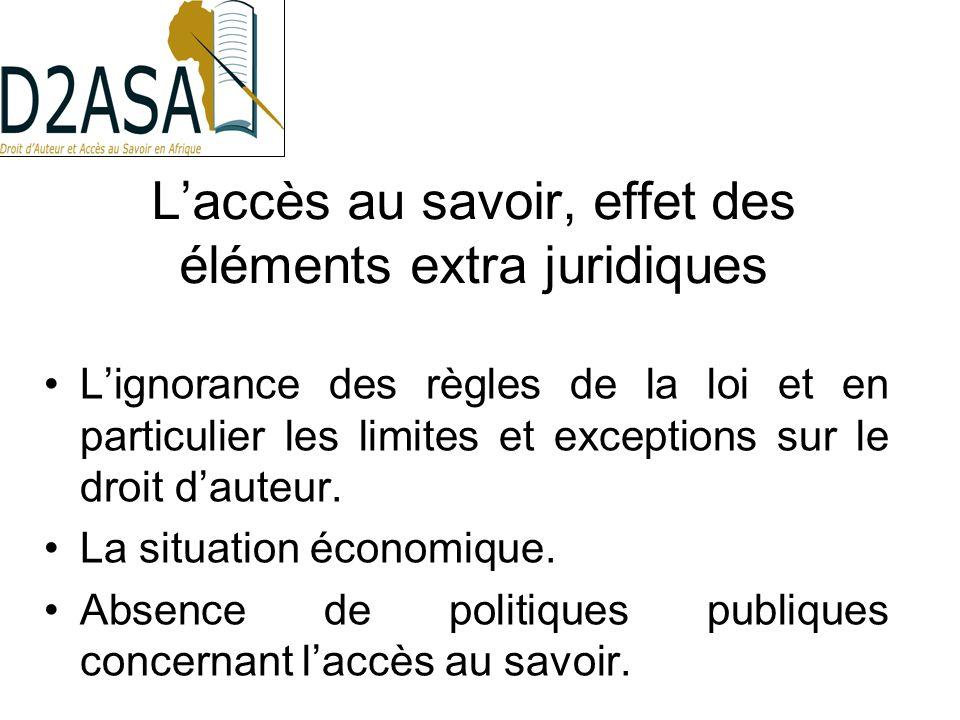 Laccès au savoir, effet des éléments extra juridiques Lignorance des règles de la loi et en particulier les limites et exceptions sur le droit dauteur.