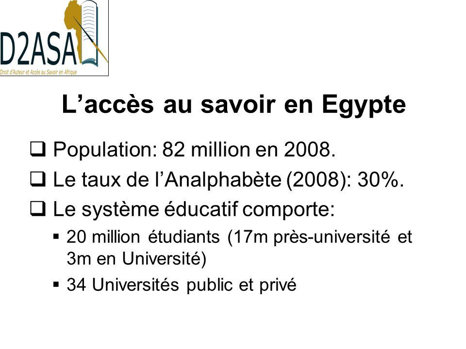 Laccès au savoir en Egypte Population: 82 million en 2008.