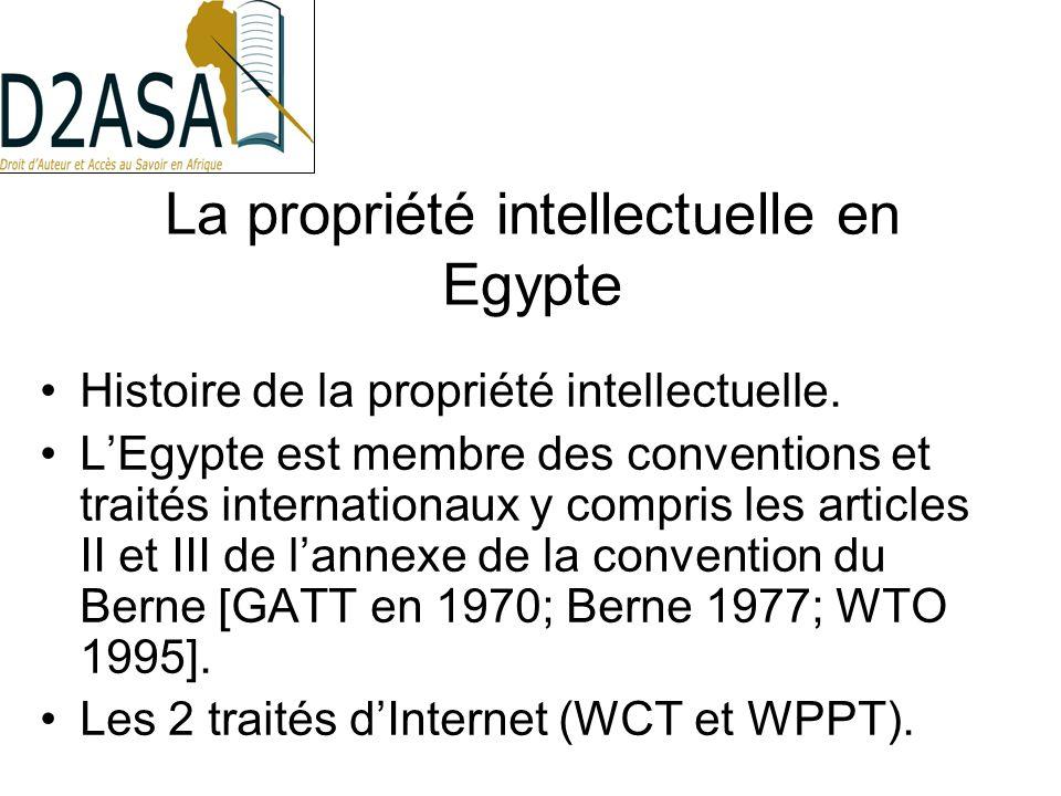 Les règles du droit dauteur Egyptien Le droit dauteur est réglé actuellement par la loi de la propriété intellectuelle 82 de 2002.