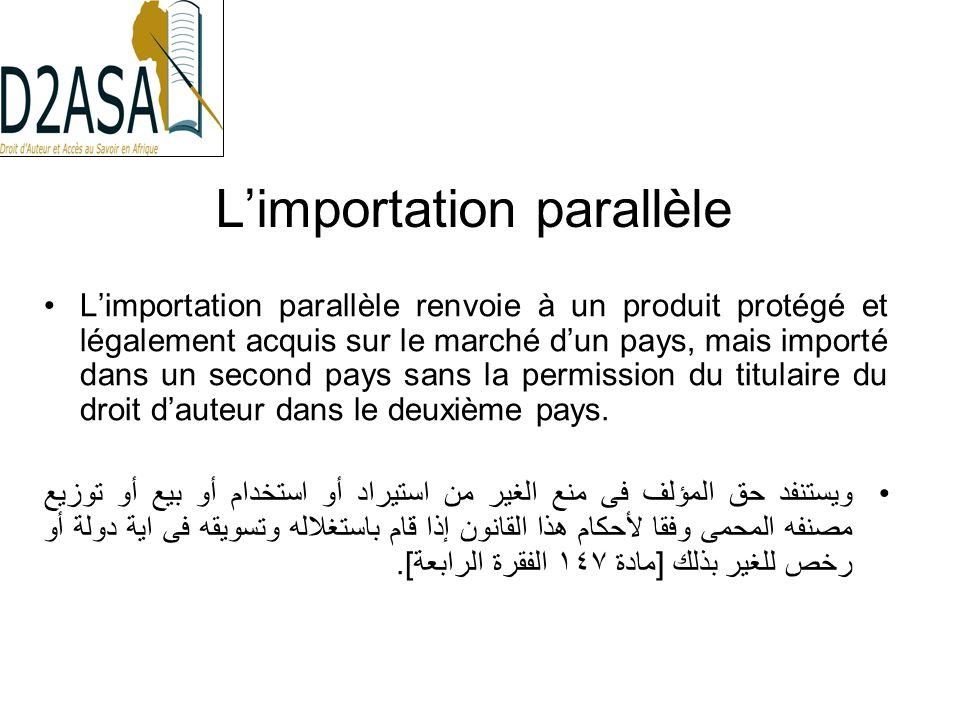 Limportation parallèle Limportation parallèle renvoie à un produit protégé et légalement acquis sur le marché dun pays, mais importé dans un second pays sans la permission du titulaire du droit dauteur dans le deuxième pays.